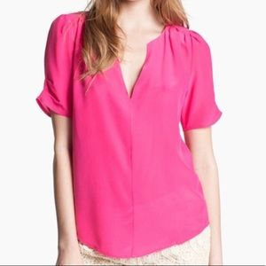 Joie Hot Pink Silk V-Neck Shirt, L